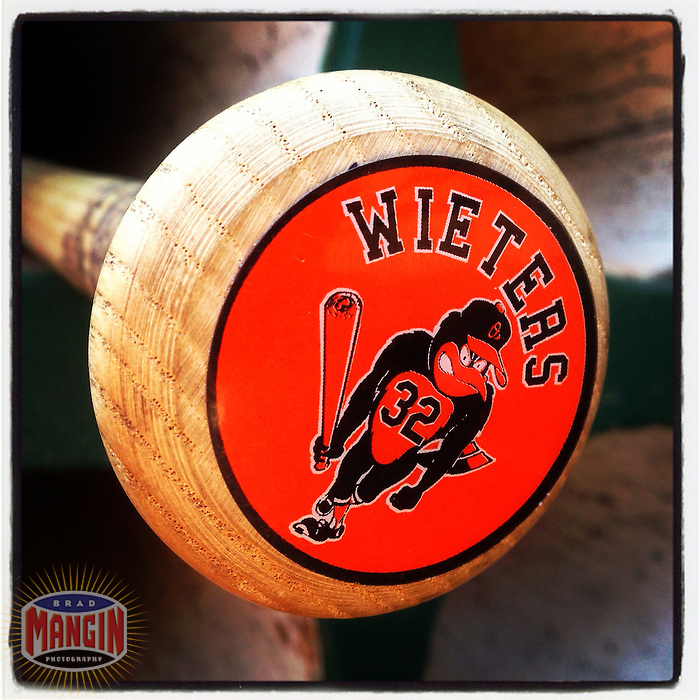 OAKLAND, CA - APRIL 28:  Instagram of a bat belonging to Matt Wieters of the Baltimore Orioles in the dugout before the game against the Oakland Athletics at O.co Coliseum on April 28, 2013 in Oakland, California. Photo by Brad Mangin