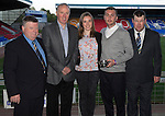 St Johnstone Player of the Year Awards 2014-15.....16.05.15<br /> The Highland Saints presnt their Magic Moment for 2014-15 to Tam Scobbie for his final penalty in the shootout versus Luzern<br /> Picture by Graeme Hart.<br /> Copyright Perthshire Picture Agency<br /> Tel: 01738 623350  Mobile: 07990 594431