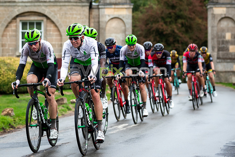 Picture by Alex Whitehead/SWpix.com - 08/09/2018 - Cycling - OVO Energy Tour of Britain - Stage 7: West Bridgford to Mansfield - Scott Davies and Mark Renshaw of Dimension Data.