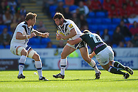 Nathan Catt of Bath Rugby is tackled by Declan Danaher of London Irish during the Aviva Premiership match between London Irish and Bath Rugby at the Madejski Stadium on Saturday 22nd September 2012 (Photo by Rob Munro)