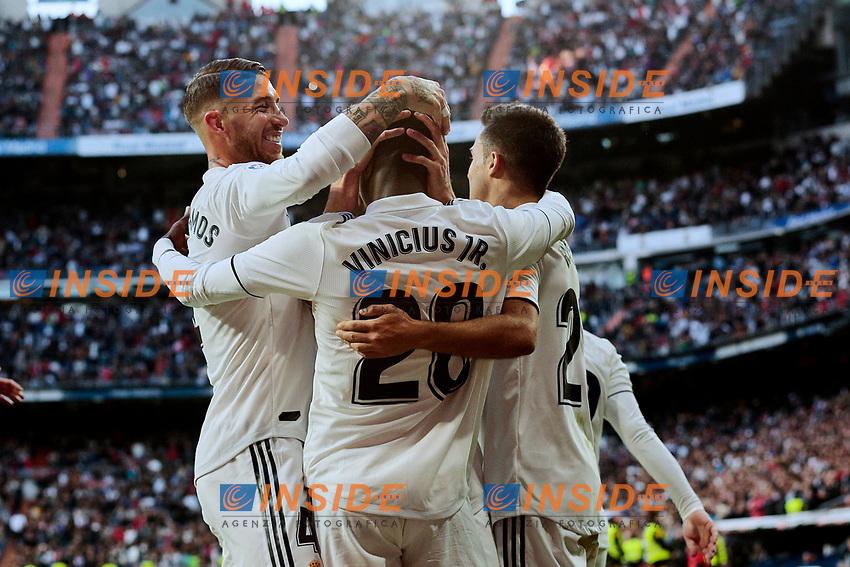 Real Madrid's (L-R) Sergio Ramos, Vinicius Jr. and Sergio Reguilon celebrate goal during La Liga match between Real Madrid and Real Valladolid at Santiago Bernabeu Stadium in Madrid, Spain. November 03, 2018. (ALTERPHOTOS/A. Perez Meca)<br /> Liga Campionato Spagna 2018/2019<br /> Foto Alterphotos / Insidefoto <br /> ITALY ONLY