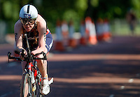 31 MAY 2014 - LONDON, GBR - PT4 competitor Faye McClelland (GBR) of Great Britain races around Hyde Park in London during the 2014 ITU World Triathlon Series paratriathlon round in Great Britain (PHOTO COPYRIGHT © 2014 NIGEL FARROW, ALL RIGHTS RESERVED)