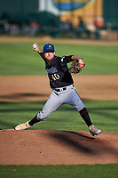 Missoula Osprey starting pitcher Dustin Lacaze (40) during a Pioneer League game against the Great Falls Voyagers at Centene Stadium at Legion Park on August 19, 2019 in Great Falls, Montana. Missoula defeated Great Falls 4-1 in the first game of a doubleheader. Games were moved from Missoula after Ogren Park at Allegiance Field, the Osprey's home field, was ruled unplayable. (Zachary Lucy/Four Seam Images)