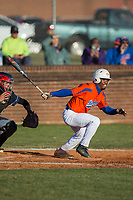 Kier Meredith (2) of the Glenn Bobcats follows through on his swing against the Mallard Creek Mavericks at Dale Ijames Stadium on March 22, 2017 in Kernersville, North Carolina.  The Bobcats defeated the Mavericks 12-2 in 5 innings.  (Brian Westerholt/Four Seam Images)