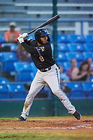 Missoula Osprey Cesar Garcia (8) at bat during a Pioneer League game against the Great Falls Voyagers at Centene Stadium at Legion Park on August 19, 2019 in Great Falls, Montana. Missoula defeated Great Falls 1-0 in the second game of a doubleheader. (Zachary Lucy/Four Seam Images)