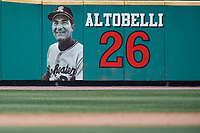 Rochester Red Wings Joe Altobelli #26 sign on the outfield wall during a game against the Scranton/Wilkes-Barre RailRiders on June 7, 2017 at Frontier Field in Rochester, New York.  Scranton defeated Rochester 5-1.  (Mike Janes/Four Seam Images)