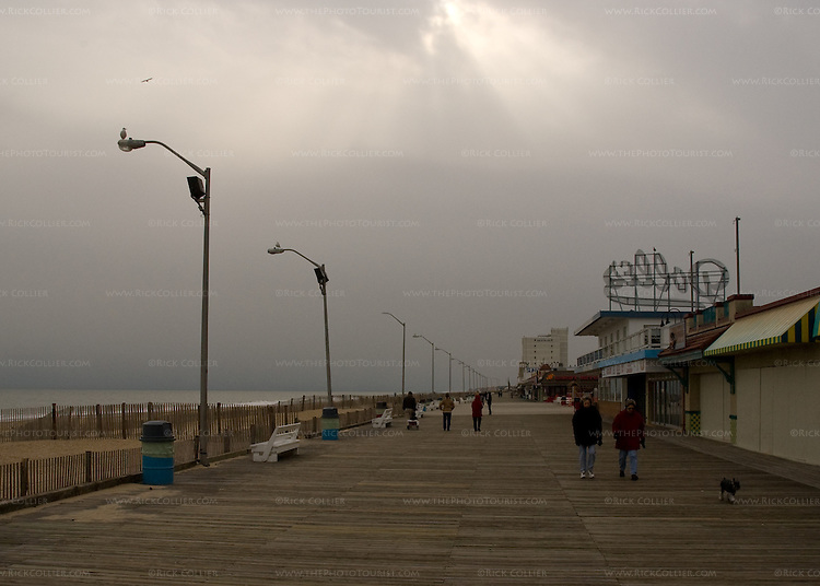 There are always at least a few people walking the boardwalk in Rehoboth Beach, Delaware, USA -- even in the dead of winter.