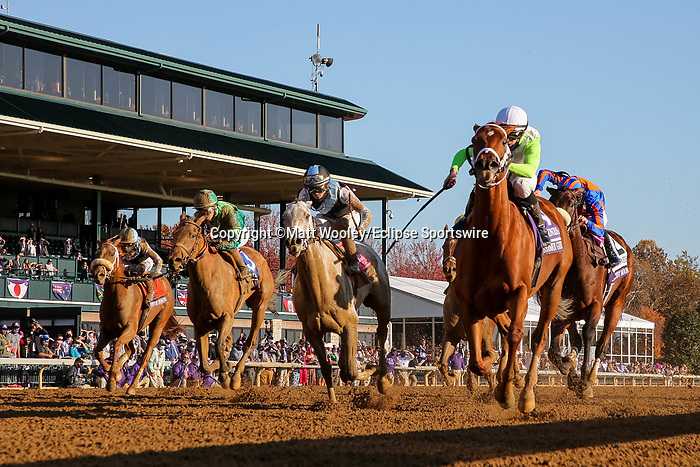November 7, 2020 : Monomoy Girl, ridden by Florent Geroux, wins the Longines Distaff on Breeders' Cup Championship Saturday at Keeneland Race Course in Lexington, Kentucky on November 7, 2020. Matt Wooley/Breeders' Cup/Eclipse Sportswire/CSM