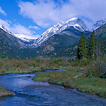 A spring morning on Fall River with a view of Endovalley and Mt Chapin, Rocky Mountain National Park, CO