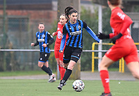 Febe Vanhaecke (3) of Club Brugge pictured during a female soccer game between Club Brugge Dames YLA and White Star Woluwe on the 12 th matchday of the 2020 - 2021 season of Belgian Scooore Womens Super League , saturday 30 January 2021  in Brugge , Belgium . PHOTO SPORTPIX.BE | SPP | DAVID CATRY