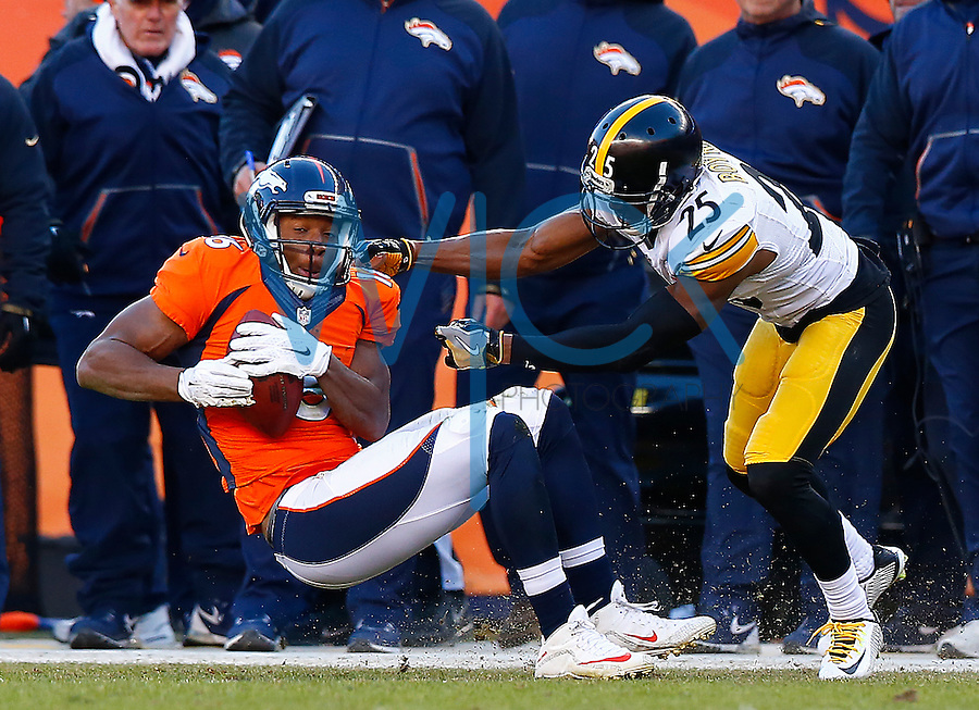 Bennie Fowler #16 of the Denver Broncos catches a pass in front of Brandon Boykin #25 of the Pittsburgh Steelers during the AFC Divisional Round Playoff game at Sports Authority Field at Mile High on January 17, 2016 in Denver, Colorado. (Photo by Jared Wickerham/DKPittsburghSports)