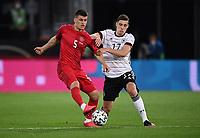 2nd June 2021, Tivoli Stadion, Innsbruck, Austria; International football friendy, Germany versus Denmark;  Joakim Maehle left, Denmark vs Florian Neuhaus right, Germany
