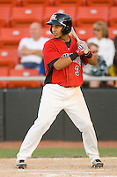 Leury Garcia #3 of the Hickory Crawdads at bat against the Greenville Drive at  L.P. Frans Stadium May 8, 2010, in Hickory, North Carolina.  Photo by Brian Westerholt / Four Seam Images