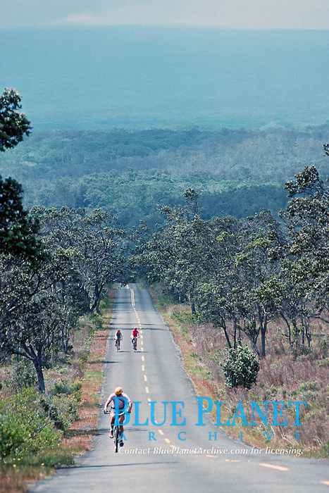 man riding bike on Mauna Loa Road, Hawaii, USA Volcanoes National Park, Big Island, Hawaii, USA, Pacific Ocean