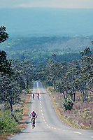 man riding bike on Mauna Loa Road, Hawaii, USA Volcanoes National Park, Big Island, Hawaii, USA, Pacific Ocean
