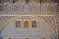 Arabesque Mudjar plasterwork of the 12th century Salón de Embajadores (Ambassadors' Hall or Throne Room). Alcazar of Seville, Seville, Spain