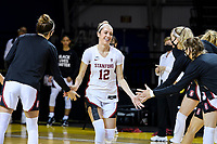 SANTA CRUZ, CA - JANUARY 22: Lexie Hull #12 being introduced before the Stanford Cardinal women's basketball game vs the UCLA Bruins at Kaiser Arena on January 22, 2021 in Santa Cruz, California.