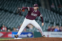 Mississippi State Bulldogs starting pitcher Konnor Pilkington (48) in action against the Louisiana-Lafayette Ragin' Cajuns in game three of the 2018 Shriners Hospitals for Children College Classic at Minute Maid Park on March 2, 2018 in Houston, Texas.  The Bulldogs defeated the Ragin' Cajuns 3-1.   (Brian Westerholt/Four Seam Images)