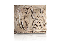 Roman relief sculpture of the Myth of Adonis. Roman 2nd century AD, Hierapolis Theatre.. Hierapolis Archaeology Museum, Turkey. Against an white background