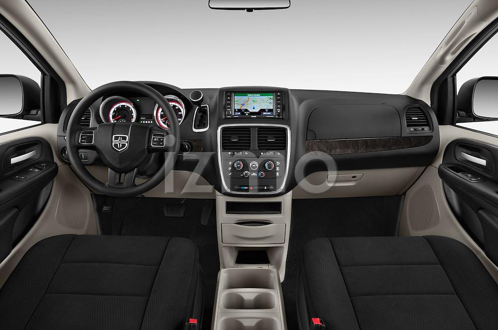Stock photo of straight dashboard view of 2018 Dodge Grand-Caravan SE 5 Door Minivan Dashboard