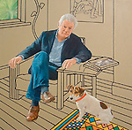 PORTRAIT OF HOMER SYKES BY PAINTER BEN HUGHES. 2008, JUST BEFORE I WAS 60yrs. Brendan with is puppy collar.