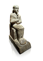 "Ancient Egyptian statue of Ptah - limestone - New Kingdom. 18th Dynasty, reign of Amenhotep III (1390 - 1353 BC), Karnac. Egyptian Museum, Turin.  white background<br /> <br /> Large statue of Egyptian gods are rare and most of them are part of building designs. This imposing statue of Ptah was probably made for the ""Temple of Millions of Years"", on the west bank of Thebes, promoted by Amenhotep III . When the temple was eventually abandoned its statues were reused in other temples in the region. Drovetti collection C. 87"