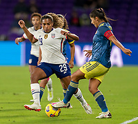 ORLANDO, FL - JANUARY 18: Catarina Macario #29 of the USWNT defends during a game between Colombia and USWNT at Exploria Stadium on January 18, 2021 in Orlando, Florida.