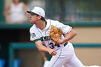 Dartmouth Big Green starting pitcher Michael Danielak (34) follows through on a pitch during a game against the South Florida Bulls on March 27, 2016 at USF Baseball Stadium in Tampa, Florida.  South Florida defeated Dartmouth 4-0.  (Mike Janes/Four Seam Images)
