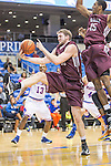 Arkansas Little Rock Trojans forward Gus Leeper (55) in action during the game between the Arkansas Little Rock Trojans and the Texas Arlington Mavericks at the College Park Center arena in Arlington, Texas. UALR defeats UTA 72 to 70.