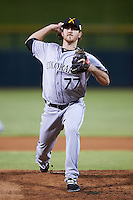 Salt River Rafters pitcher Zach Jemiola (77), of the Colorado Rockies organization, during a game against the Mesa Solar Sox on October 22, 2016 at Sloan Park in Mesa, Arizona.  Salt River defeated Mesa 7-2.  (Mike Janes/Four Seam Images)