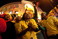 South African fans celebrate South Africa's victory over France at Nelson Mandela Square in Sandton, South Africa after their 2010 FIFA World Cup first round match on Tuesday, June 22, 2010.   South Africa defeated France 2-1, but failed to qualify for the second round.