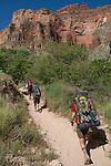 Backpackers on the Bright Angel Trail leaving Indian Gardens, Grand Canyon National Park, Arizona . John offers private photo tours in Grand Canyon National Park and throughout Arizona, Utah and Colorado. Year-round.