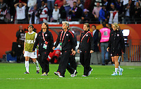 Coach Pia Sundhage (C) of team USA reacts during the FIFA Women's World Cup Final USA against Japan at the FIFA Stadium in Frankfurt, Germany on July 17th, 2011.