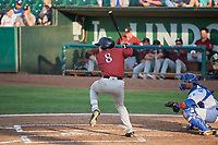 Nathan Eaton (8) of the Idaho Falls Chukars bats against the Ogden Raptors at Lindquist Field on July 2, 2018 in Ogden, Utah. The Raptors defeated the Chukars 11-7. (Stephen Smith/Four Seam Images)