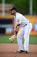Akron RubberDucks first baseman Jeremy Lucas (12) during a game against the New Britain Rock Cats on May 21, 2015 at Canal Park in Akron, Ohio.  Akron defeated New Britain 4-2.  (Mike Janes/Four Seam Images)