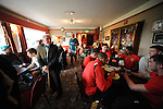 Stamford AFC 2 Marine 4, 29/03/2014. Wothorpe Road, Northern Premier League. Stamford players gather in the bar area after The Northern Premier League game between Stamford AFC and Marine from The Daniels Stadium. Marine won the game 4-2 in front of 320 supporters to boost their chances of relegation survival. Stamford AFC are moving to the brand new Zeeco Stadium at the end of the 2013/14 season. Photo by Simon Gill.