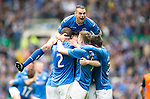 St Johnstone v Dundee United....17.05.14   William Hill Scottish Cup Final<br /> A delighted James Dunne leaps on Steven Anderson and his team mates after opening the scoring<br /> Picture by Graeme Hart.<br /> Copyright Perthshire Picture Agency<br /> Tel: 01738 623350  Mobile: 07990 594431