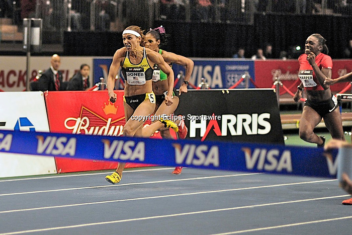 Lolo Jones wins the women's 50 meter hurdles at the first U.S. Open on January 29, 2012 at Madison Square Garden in New York, New York.  (Bob Mayberger/Eclipse Sportswire)