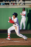 Potomac Nationals designated hitter Austin Davidson (6) at bat during the first game of a doubleheader against the Salem Red Sox on May 13, 2017 at G. Richard Pfitzner Stadium in Woodbridge, Virginia.  Potomac defeated Salem 6-0.  (Mike Janes/Four Seam Images)