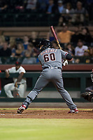 Salt River Rafters catcher Renae Martinez (60), of the Arizona Diamondbacks organization, at bat during an Arizona Fall League game against the Scottsdale Scorpions at Scottsdale Stadium on October 12, 2018 in Scottsdale, Arizona. Scottsdale defeated Salt River 6-2. (Zachary Lucy/Four Seam Images)
