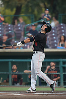 Jordan Cowan (11) of the Modesto Nuts bats against the Inland Empire 66ers at San Manuel Stadium on June 2, 2017 in San Bernardino, California. Inland Empire defeated Modesto, 7-2. (Larry Goren/Four Seam Images)