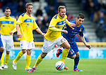 Inverness Caledonian Thistle v St Johnstone...27.10.12      SPL.Rowan Vine fends off Graeme Shinnie.Picture by Graeme Hart..Copyright Perthshire Picture Agency.Tel: 01738 623350  Mobile: 07990 594431