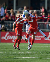 11 April 2009: Toronto FC forward Chad Barrett # 19 puts a head to the ball during MLS action at BMO Field Toronto, in a game between FC Dallas and Toronto FC. .Final score was a 1-1 draw.