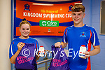 Members of the Kingdom Swimming Club receive their welcome back packs as swimming has restarted. L to r:  Ava Gannon and Cian Mason