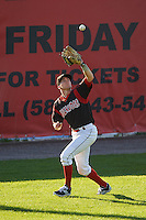 Batavia Muckdogs outfielder Cameron Newell (49) catches a fly ball during the first game of a doubleheader against the Mahoning Valley Scrappers on July 2, 2015 at Dwyer Stadium in Batavia, New York.  Batavia defeated Mahoning Valley 4-1.  (Mike Janes/Four Seam Images)