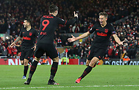 Atletico Madrid's Marcos Llorente (right) celebrates scoring his side's second goal <br /> <br /> Photographer Rich Linley/CameraSport<br /> <br /> UEFA Champions League Round of 16 Second Leg - Liverpool v Atletico Madrid - Wednesday 11th March 2020 - Anfield - Liverpool<br />  <br /> World Copyright © 2020 CameraSport. All rights reserved. 43 Linden Ave. Countesthorpe. Leicester. England. LE8 5PG - Tel: +44 (0) 116 277 4147 - admin@camerasport.com - www.camerasport.com