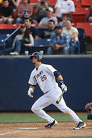 J.D. Davis #26 of the Cal State Fullerton Titans bats against the Washington State Cougars at Goodwin Field on  February 15, 2014 in Fullerton, California. Washington State defeated Fullerton, 9-7. (Larry Goren/Four Seam Images)