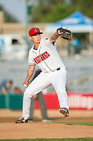 Billings Mustangs starting pitcher Mac Sceroler (47) in action against the Missoula Osprey at Dehler Park on August 21, 2017 in Billings, Montana.  The Osprey defeated the Mustangs 10-4.  (Brian Westerholt/Four Seam Images)