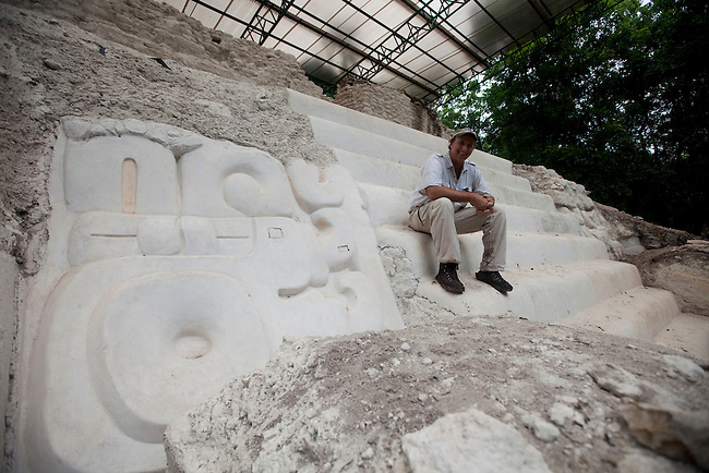 """Richard Hanson at Temple """"El Jaguar"""" at Mirador archeological site."""