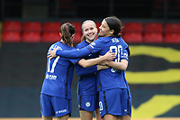 14th March 2021; Vicarage Road, Watford, Herts;  Chelsea team celebration after Guro Reiten Chelsea scores during the FA Womens Continental Tyres League Cup final game between Bristol City and Chelsea at Vicarage Road Stadium in Watford. FA Womens Continental Tyres Cup Final